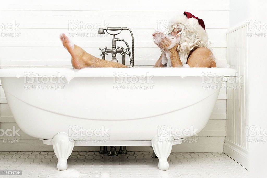 Santa taking a bath royalty-free stock photo