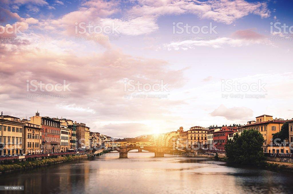 Santa Trinita bridge and Ponte Vecchio in Florence at Sunrise stock photo