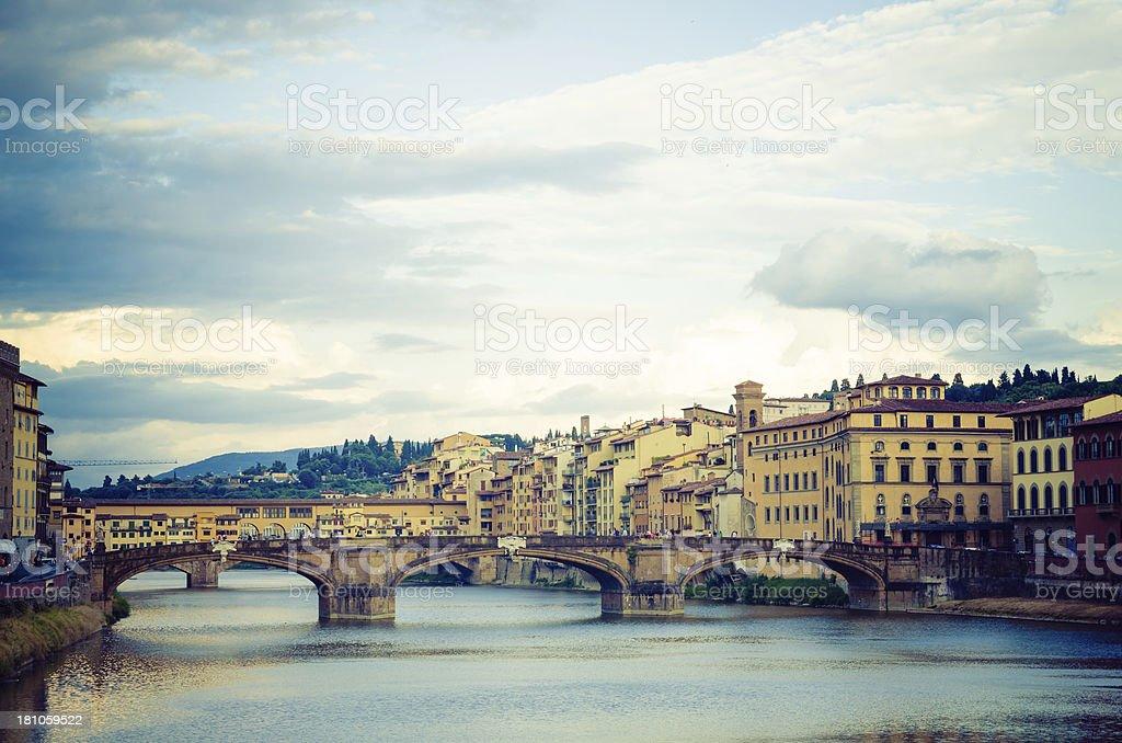 Santa Trinita bridge and Ponte Vecchio in Florence stock photo