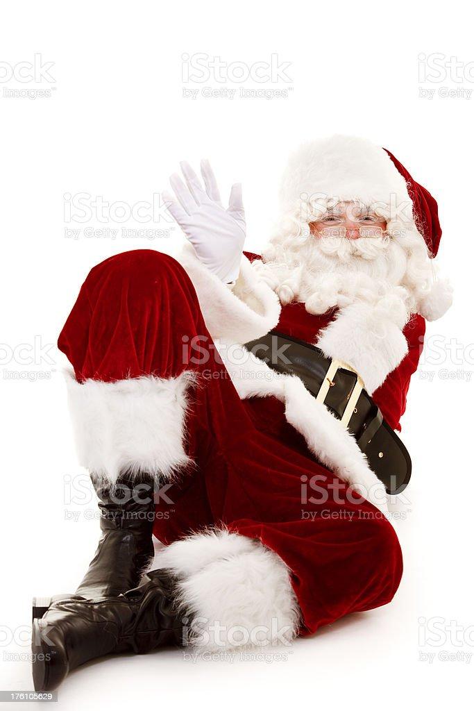 Santa waving isolated on white royalty-free stock photo