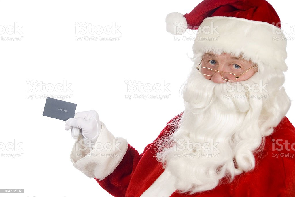 Santa with a gift card royalty-free stock photo