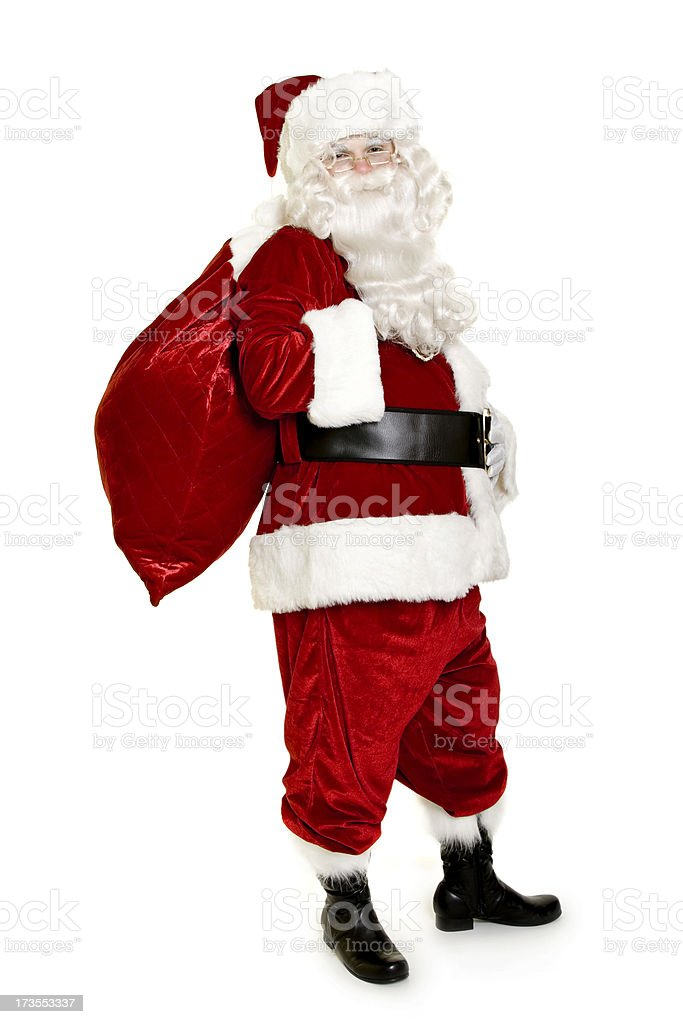 Santa with bag isolated on white royalty-free stock photo