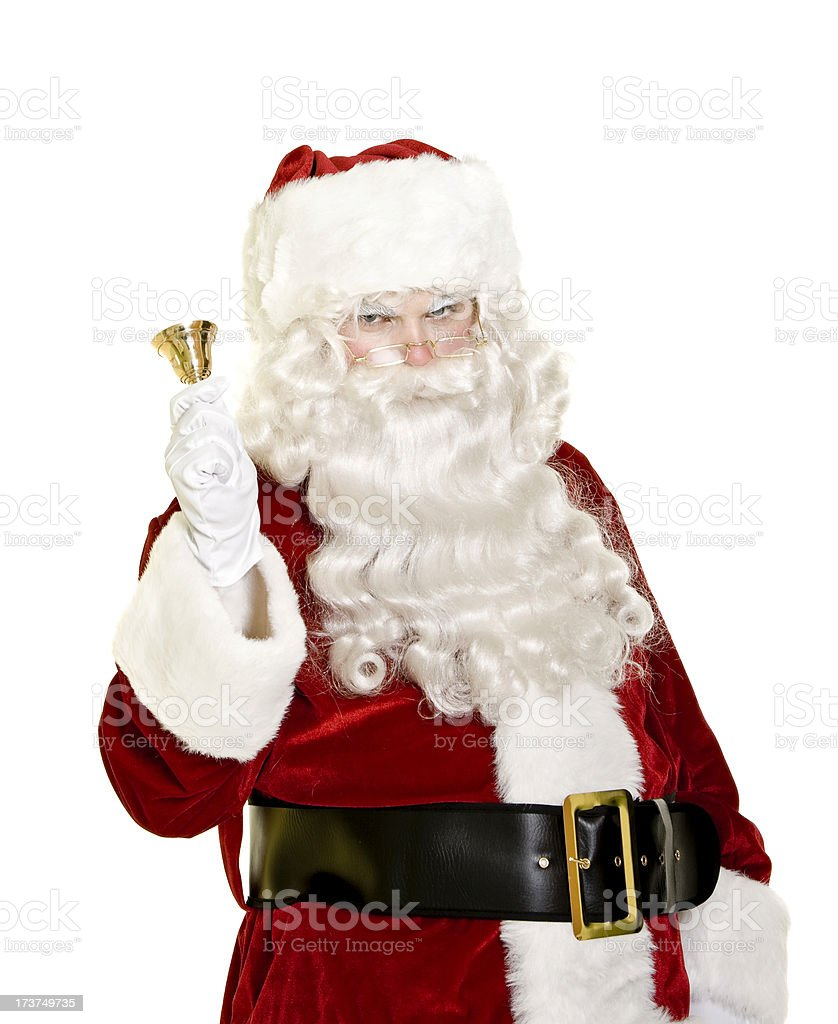 Santa with bell isolated on white royalty-free stock photo