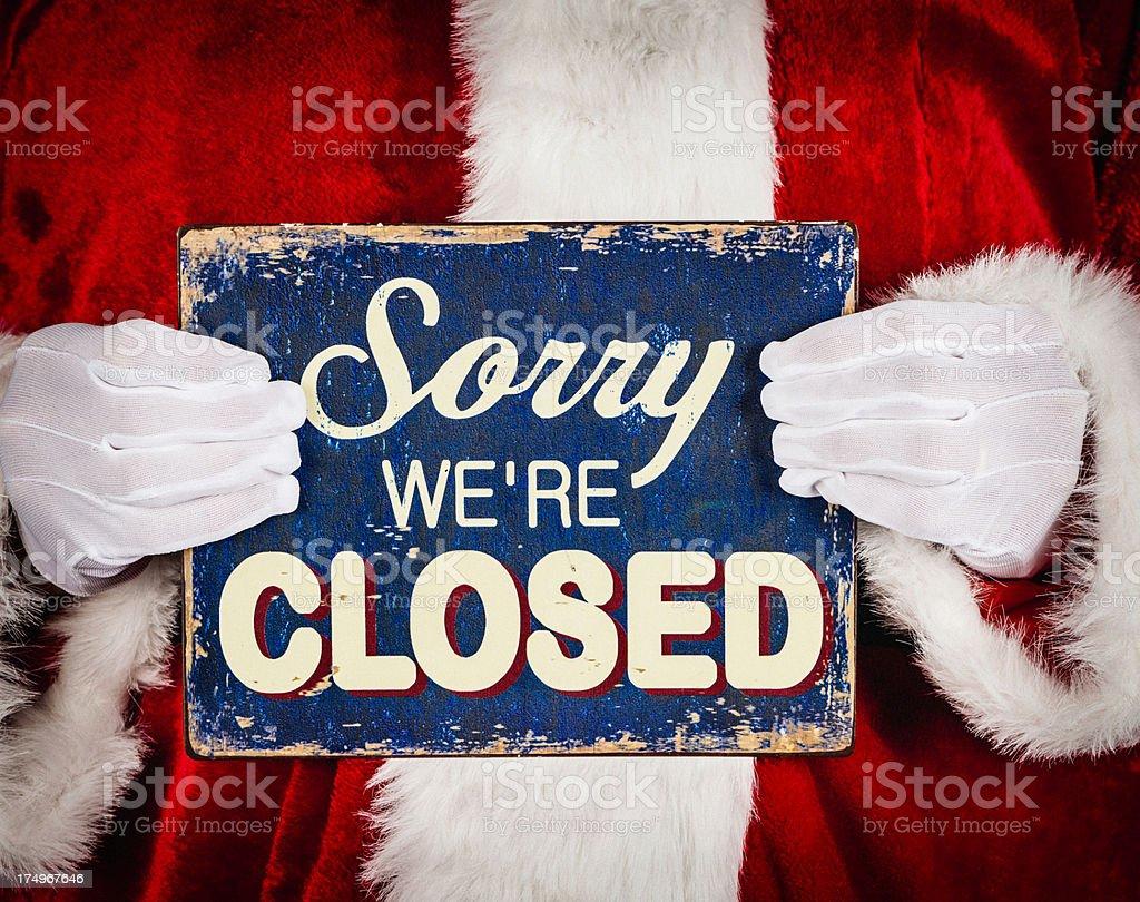 Santa with Closed Sign royalty-free stock photo