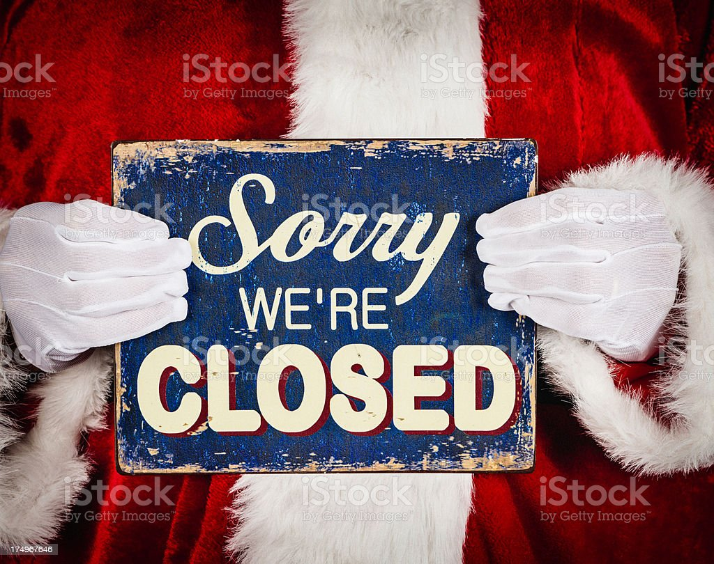 Santa with Closed Sign stock photo