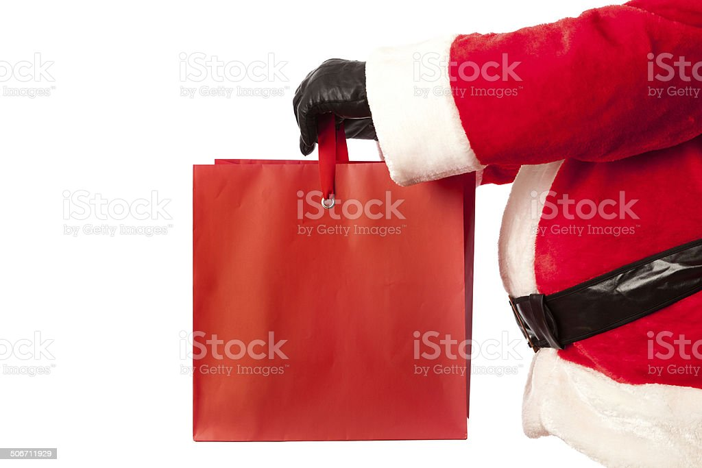 Santa with Gift Bag on White Background stock photo