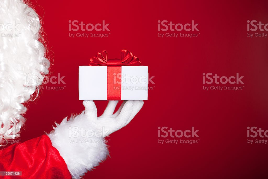 Santa with gift royalty-free stock photo