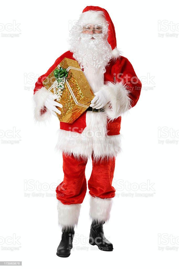 Santa with gift (on white) royalty-free stock photo