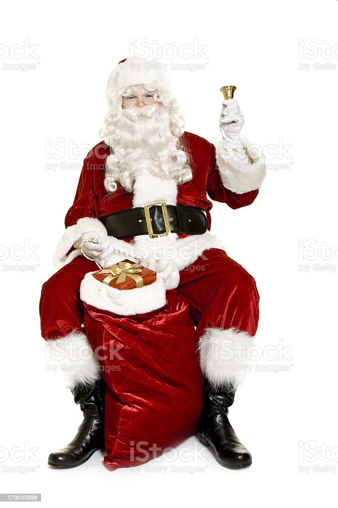 Santa with gifts isolated on white royalty-free stock photo