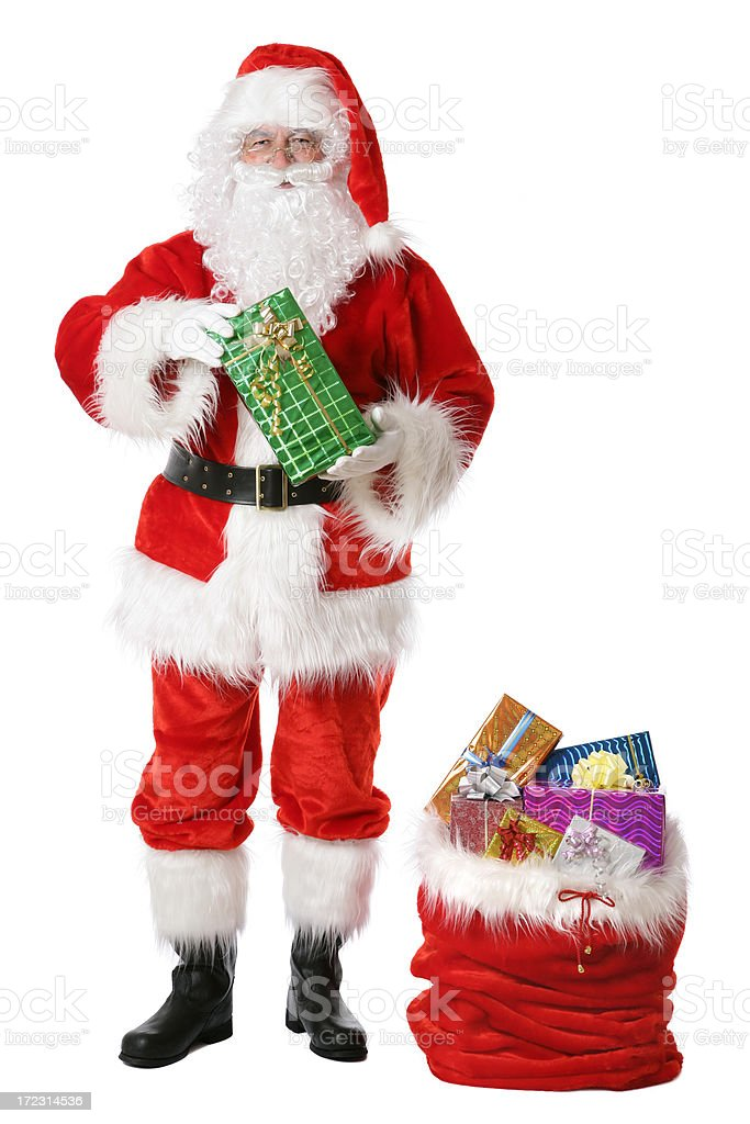 Santa with gifts on white royalty-free stock photo