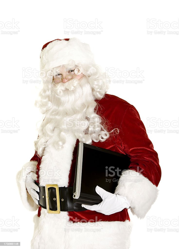 Santa with laptop isolated on white royalty-free stock photo