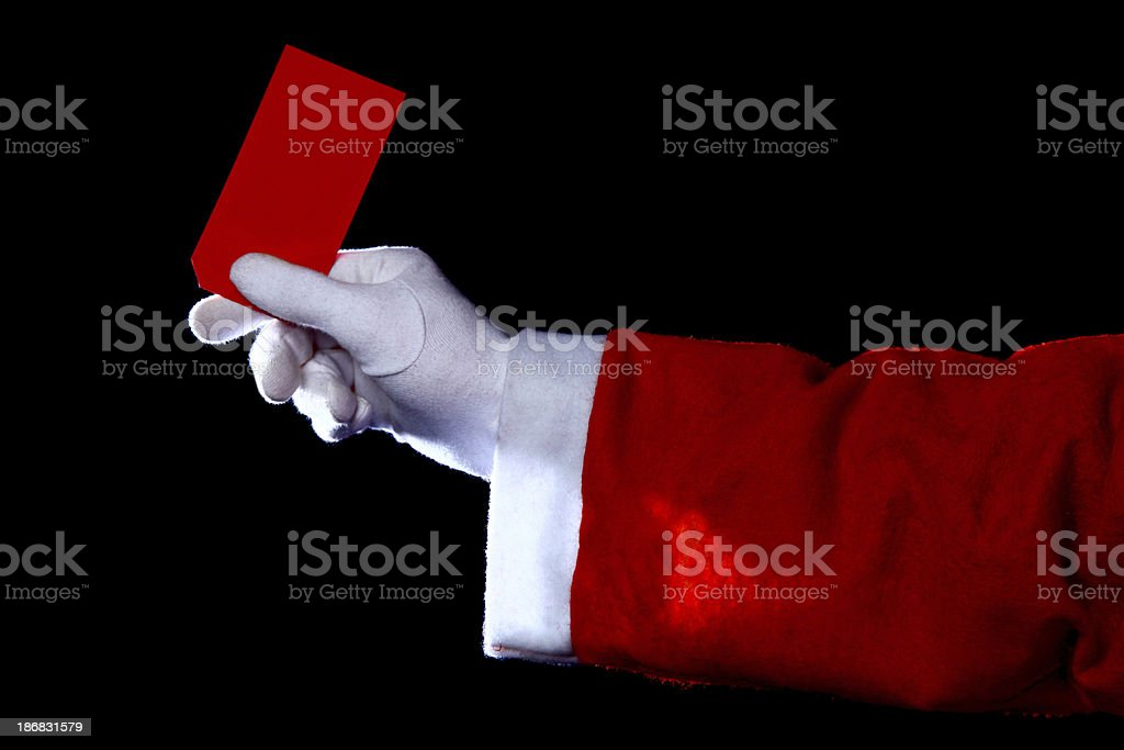 Santa with red label stock photo