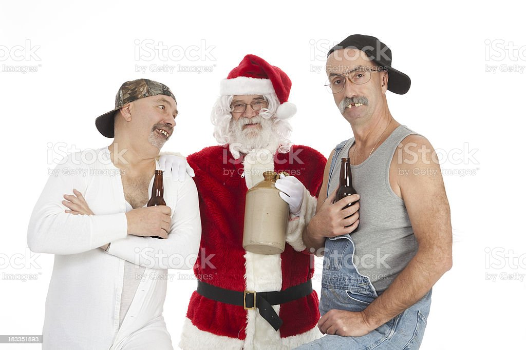 Santa with Red Necks and Christmas Cheer stock photo