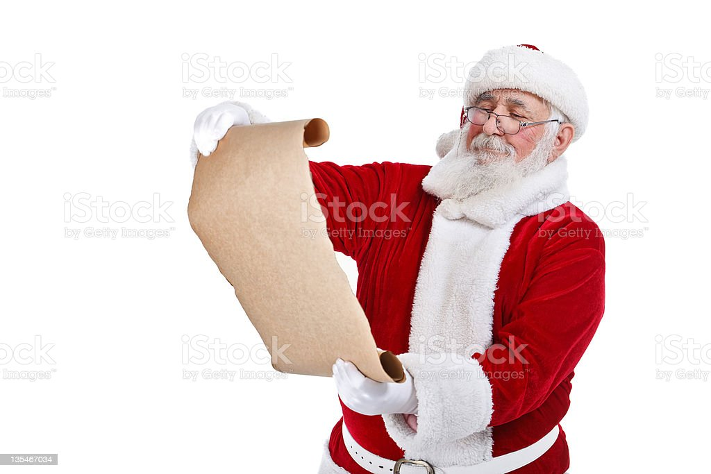 Santa with scroll paper stock photo