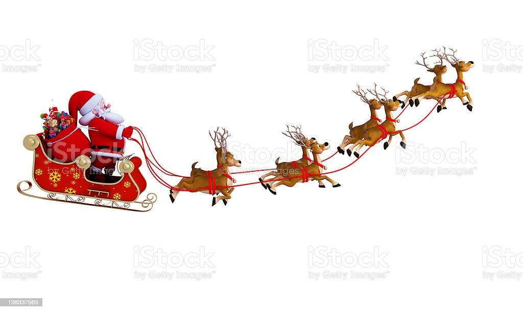 santa with sleigh stock photo