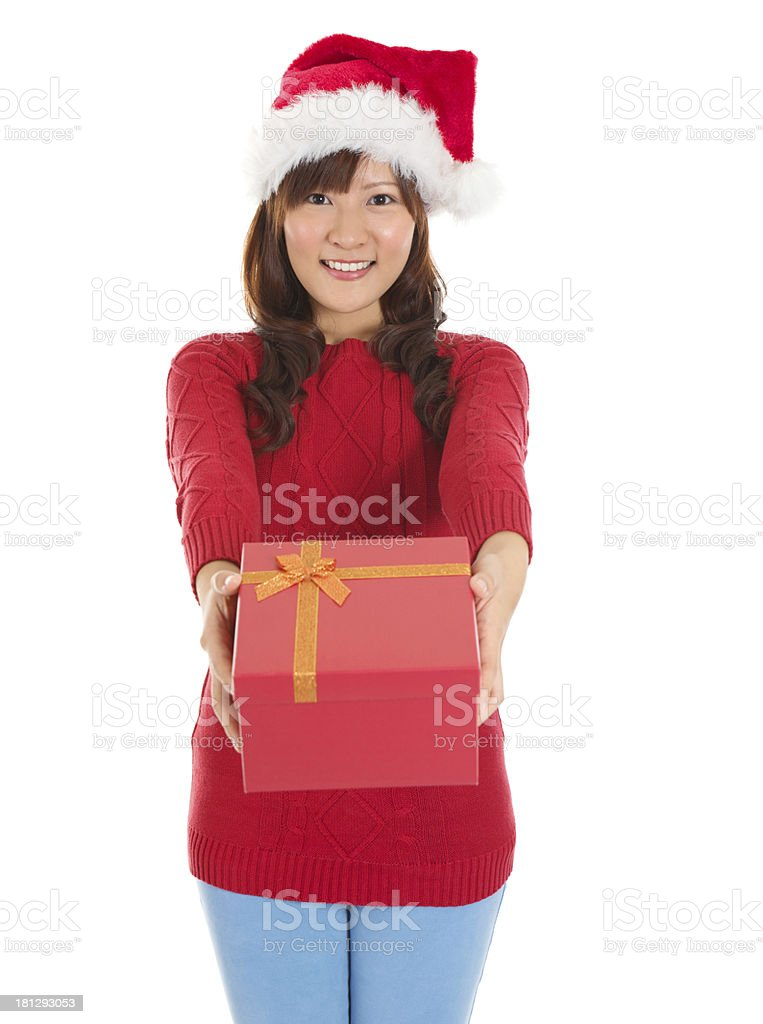 Santa Woman happy giving Christmas Gift Box royalty-free stock photo