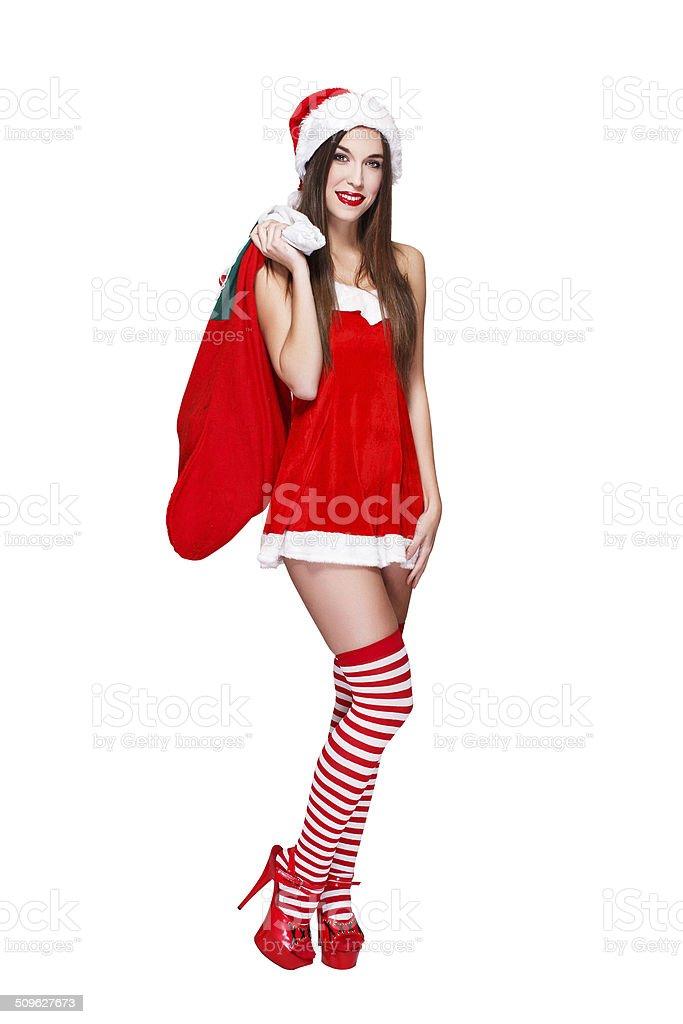 Santa woman in fur hat royalty-free stock photo