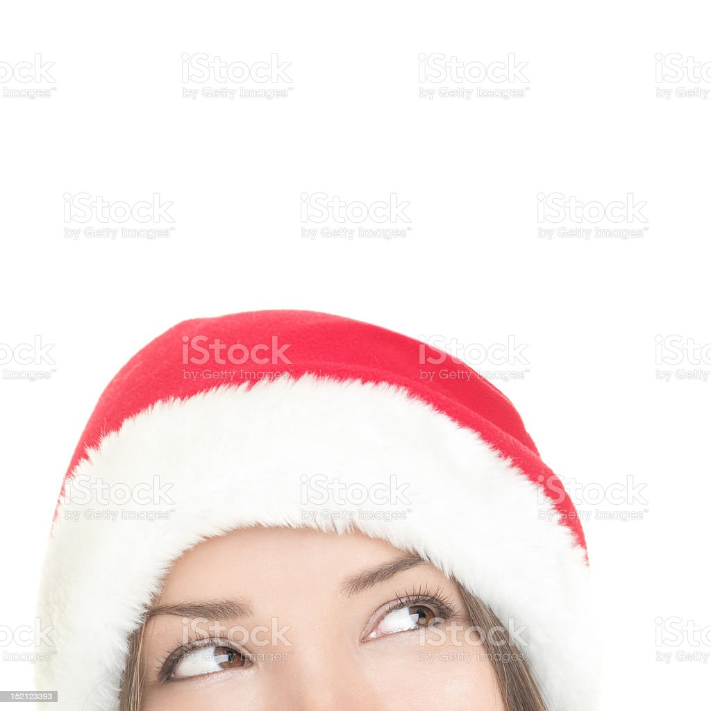Santa woman looking up royalty-free stock photo