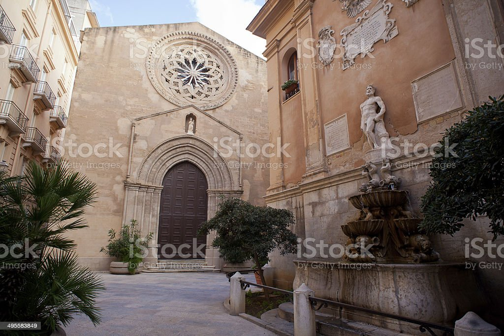 Sant'Agostino church and saturno fountain, Trapani stock photo