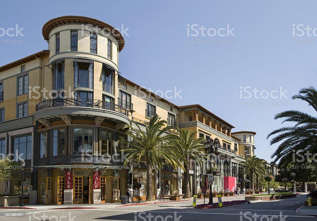 Santana Row shopping district, San Jose, CA stock photo
