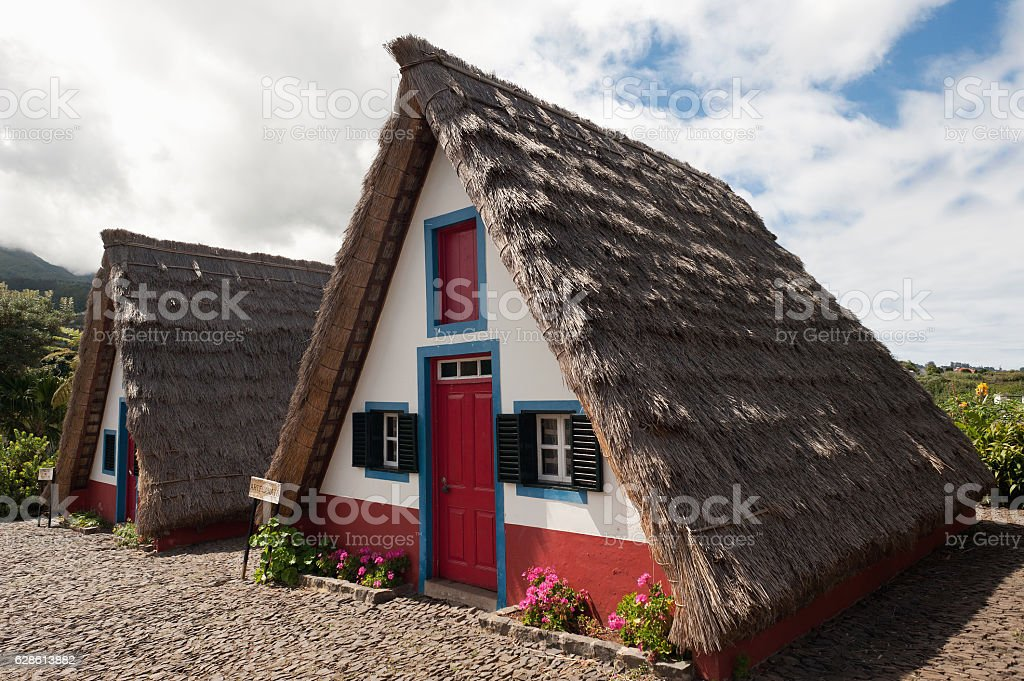 Santana typical house. Madeira island. stock photo