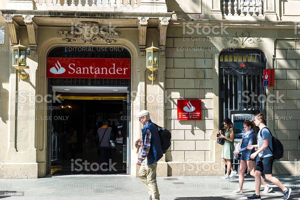 Santander bank branch in Barcelona stock photo