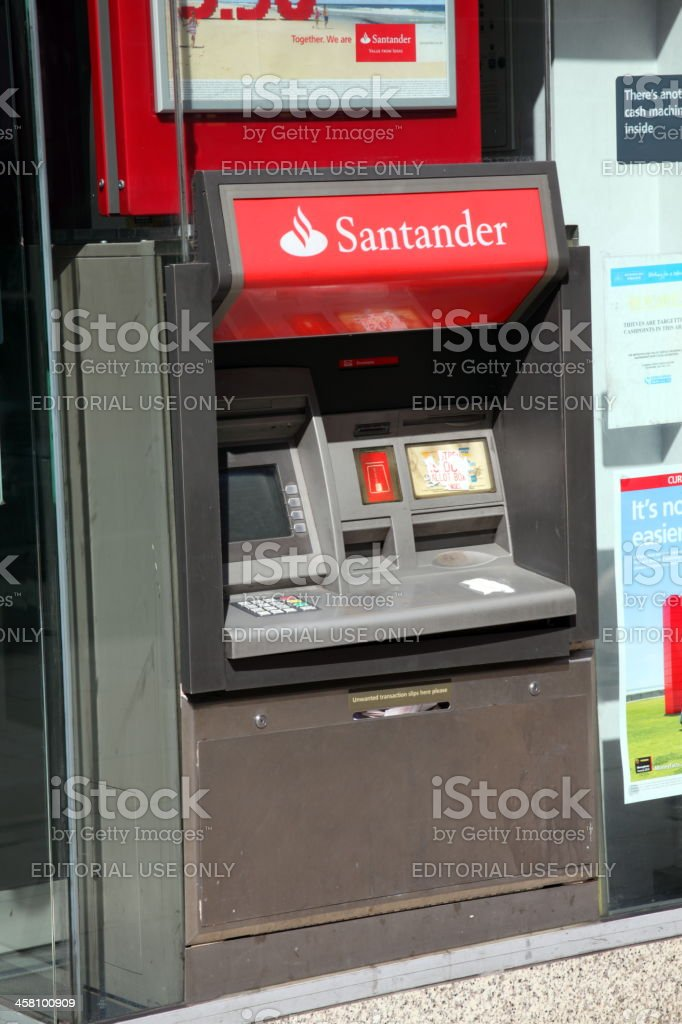Santander Bank Cash Machine stock photo