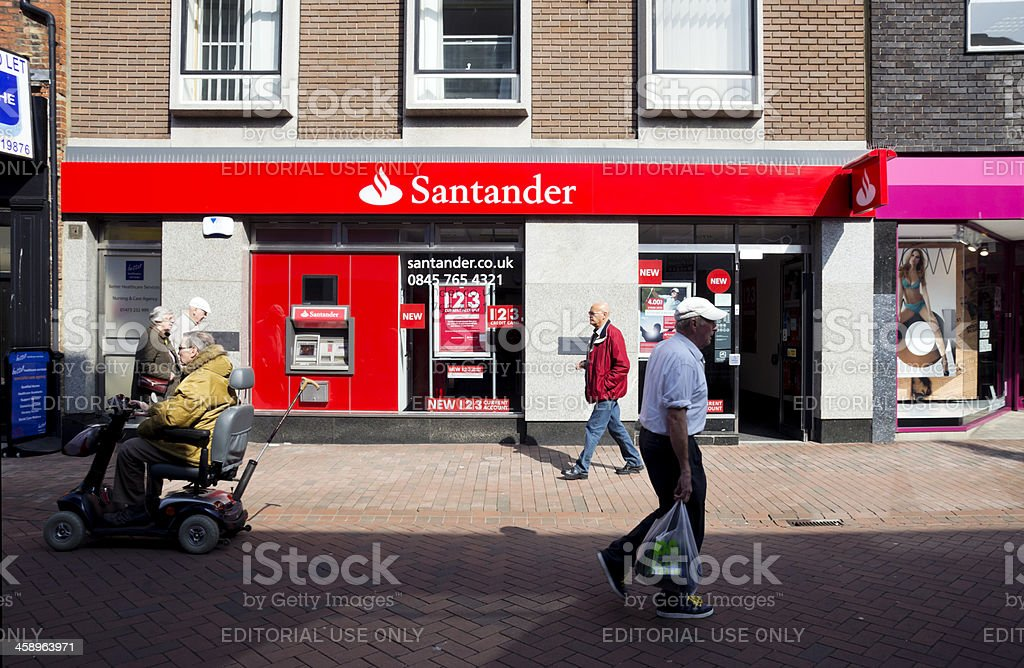Santander Bank frontage with passers-by stock photo