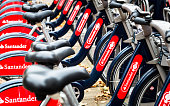 Santander bicycles for hire near Waterloo Station, London, UK