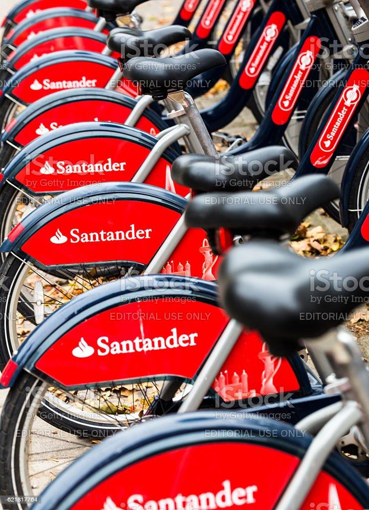 Santander bicycles for hire near Waterloo Station, London, UK stock photo