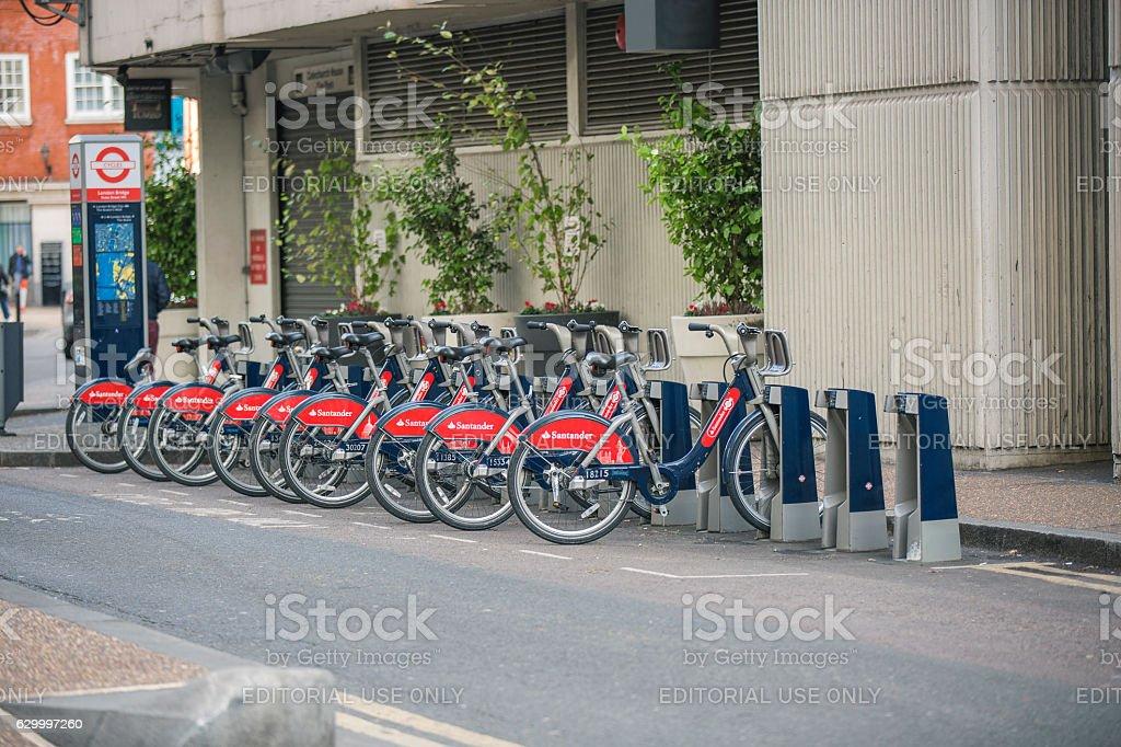 Santander Cycles docking station. London stock photo