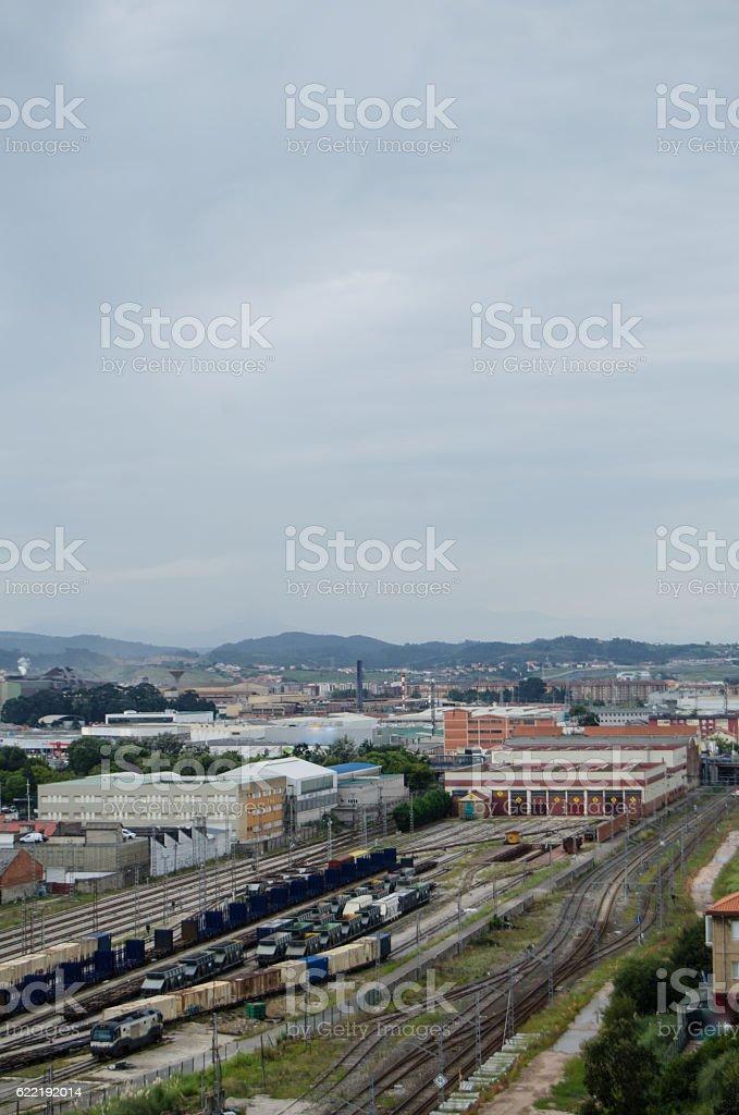 Santander railroad tracks stock photo