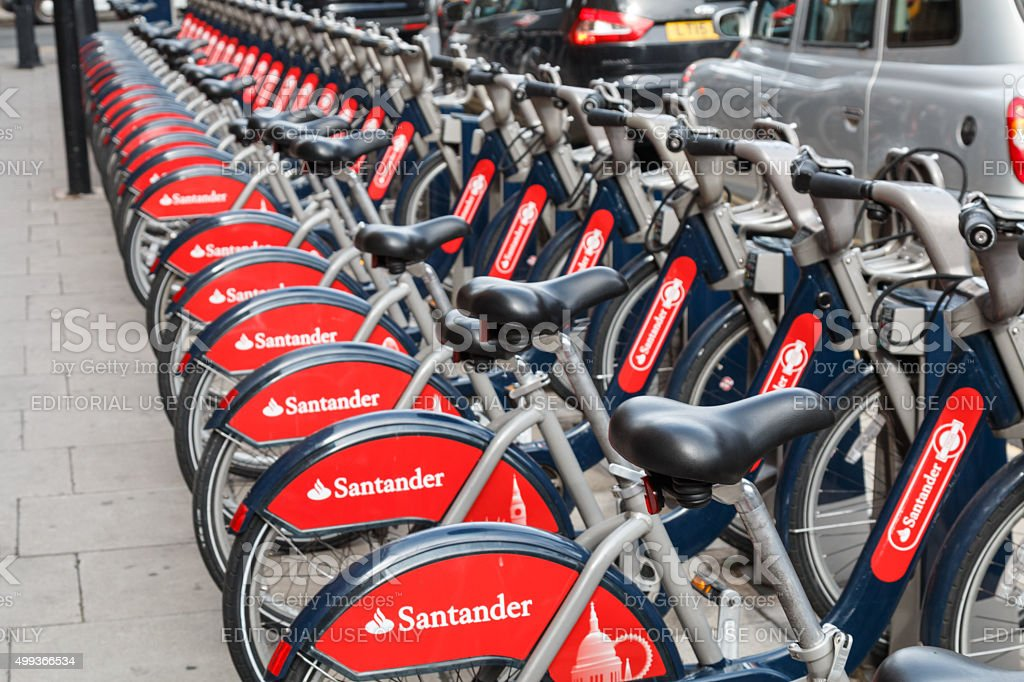 Santander rental bikes for hire in a London Street stock photo