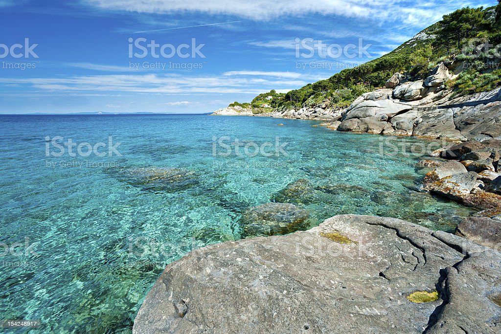 Sant'Andrea beach, Elba island. Italy. stock photo