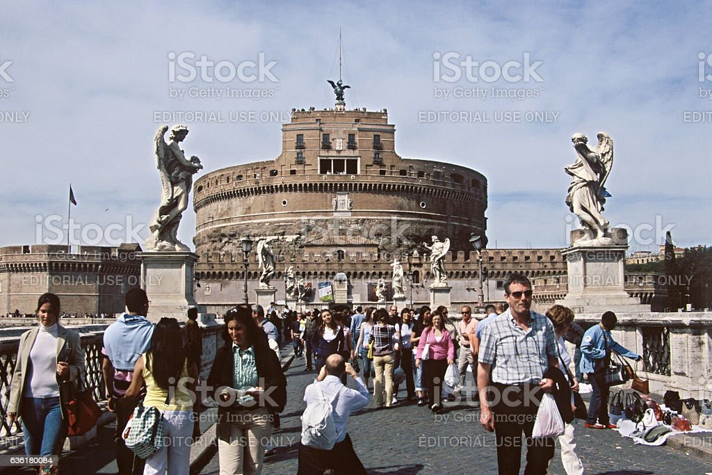 Sant'Angelo Castle and Bridge in Rome, Italy stock photo