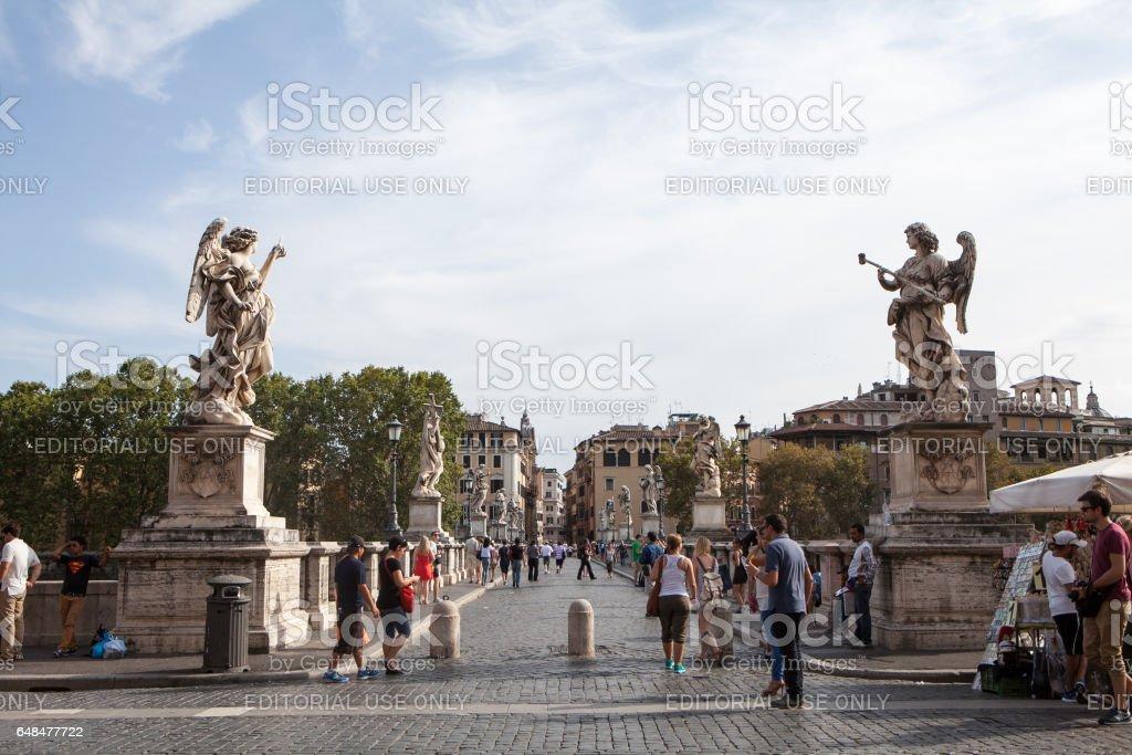 Sant'Angelo Castle and Bridge in Rome, Italy stock photo