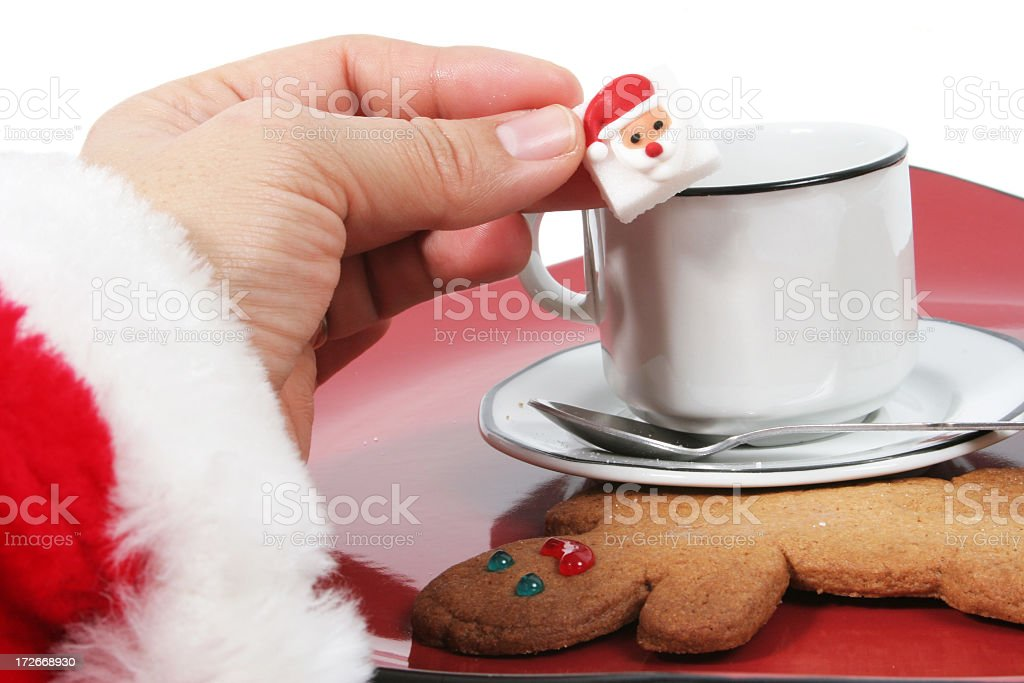 Santa's coffee and gingerbread royalty-free stock photo