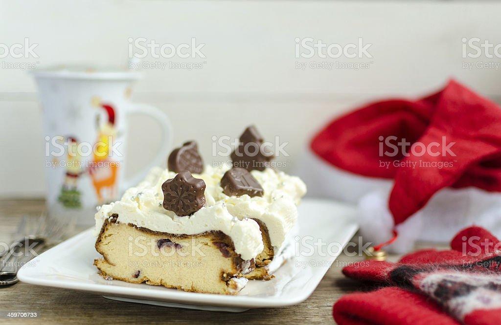 Santa's First Breakfast. Ukrainian Authentic Cheese-Cake 'Lvivskiy Syrnyk'. royalty-free stock photo