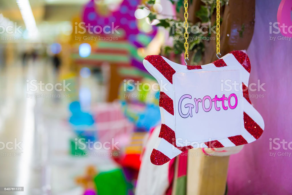 Santa's grotto decoration, Christmas background stock photo