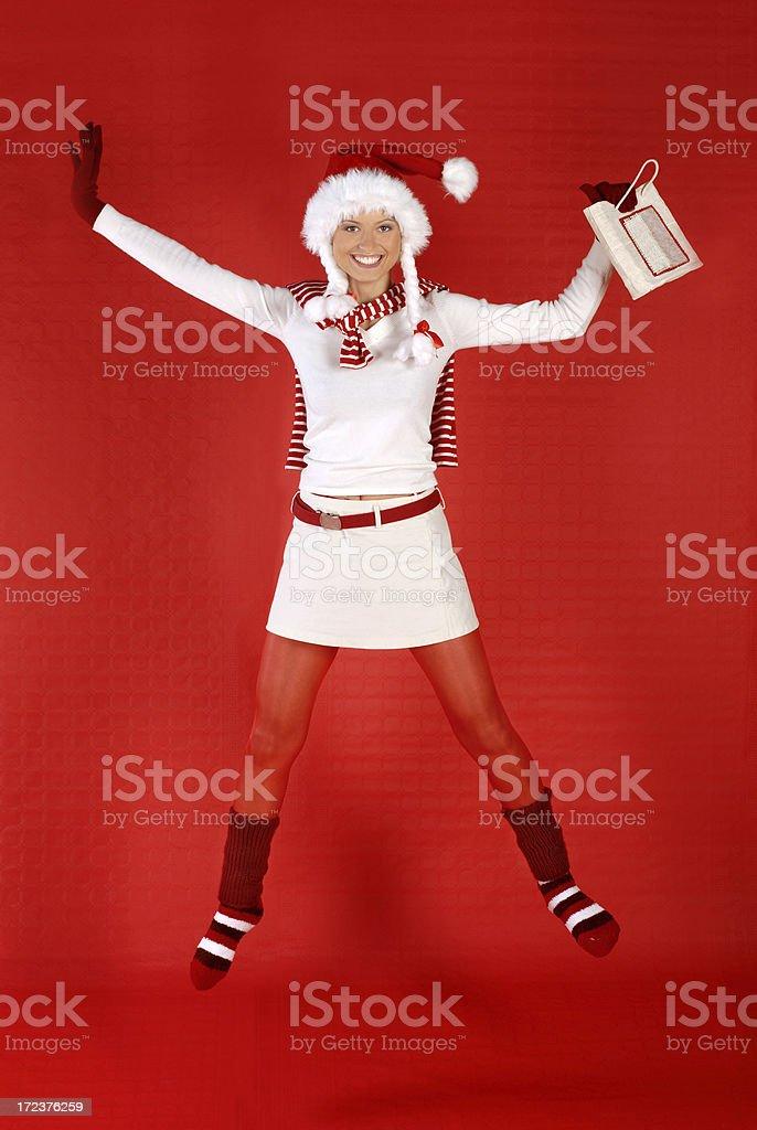 Santa's happy jump royalty-free stock photo