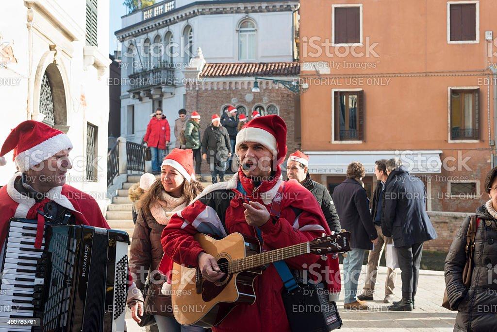 Santas in Venice, Italy, Europe royalty-free stock photo