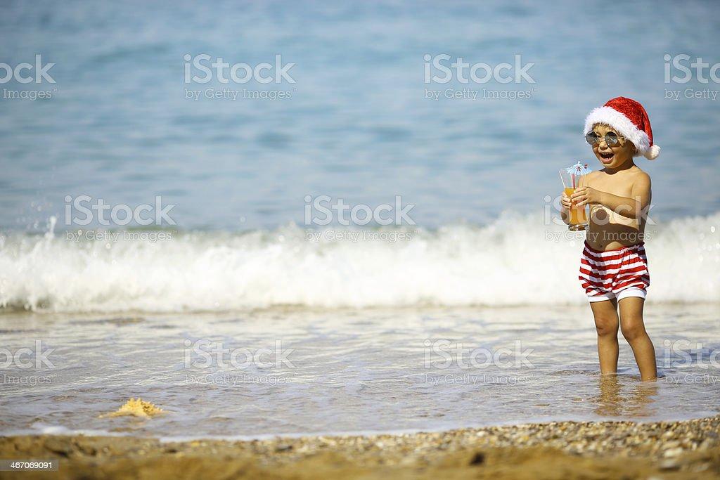 Santa's little resting on the coast royalty-free stock photo