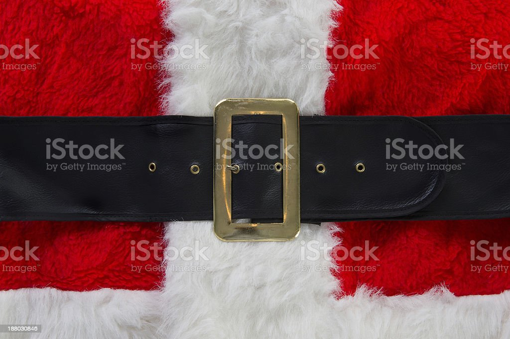 Santa's red and white suit with belt stock photo