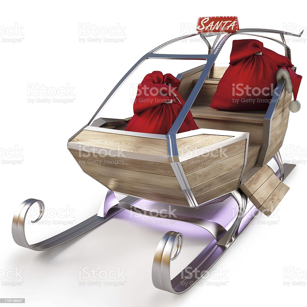 Santa's sleigh with two red bags on the inside royalty-free stock photo