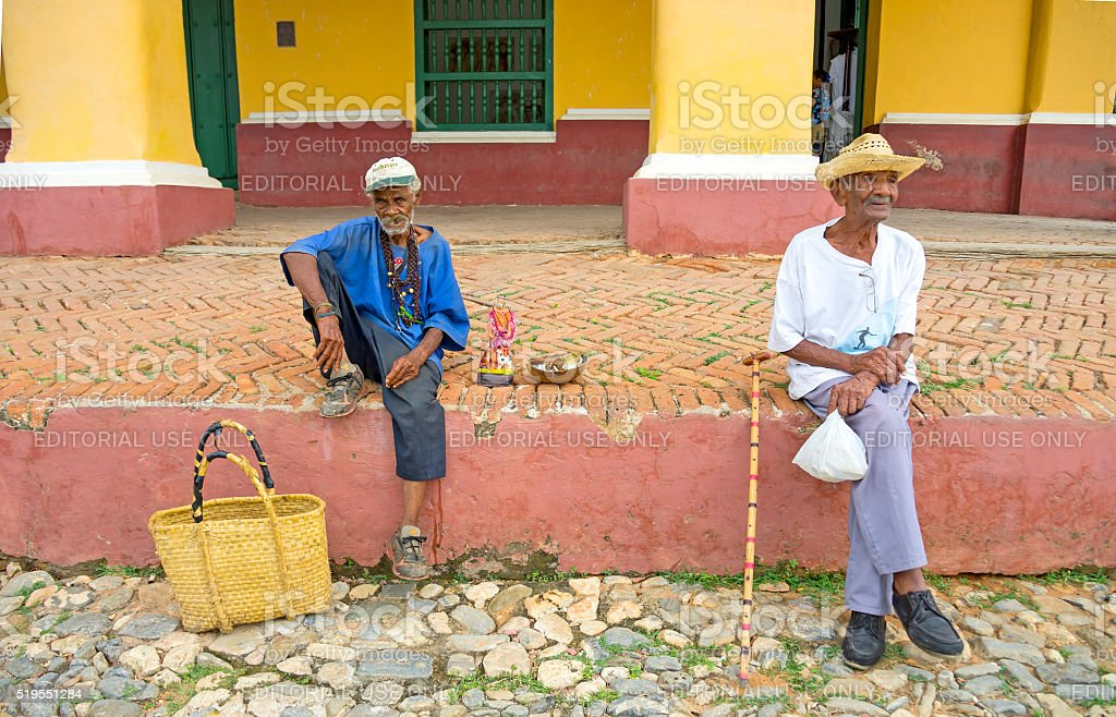 santerians in Trinidad, Cuba stock photo