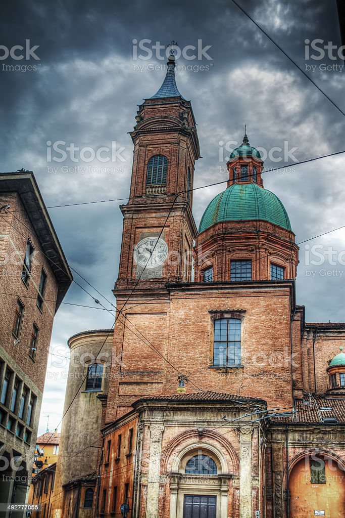 Santi Bartolomeo e Gaetano steeple and dome in Bologna stock photo