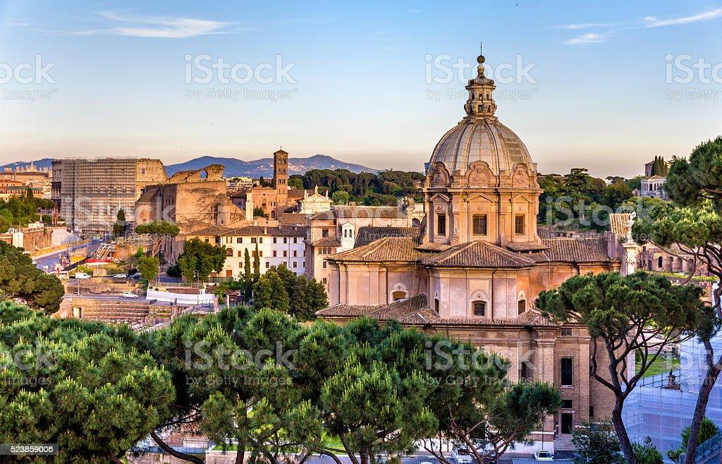 Santi Luca e Martina, a catholic church at the Roman stock photo