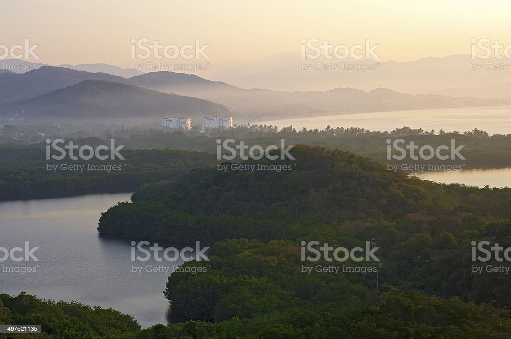 Santiago Bay Sunrise in Manzanillo stock photo