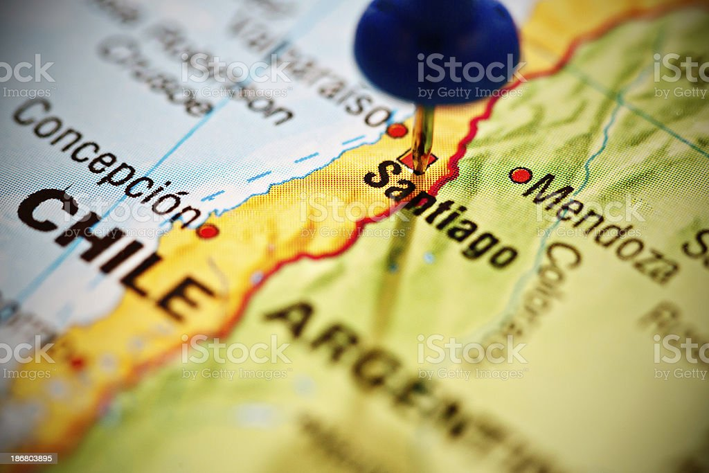 Santiago, capital of Chile, marked with blue pushpin on map stock photo