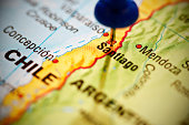 Santiago, capital of Chile, marked with blue pushpin on map